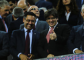 9th September 2017, Camp Nou, Barcelona, Spain; La Liga football, Barcelona versus Espanyol; Bartomeu (left) and Carles Puigdemont (right) President of Catalonia
