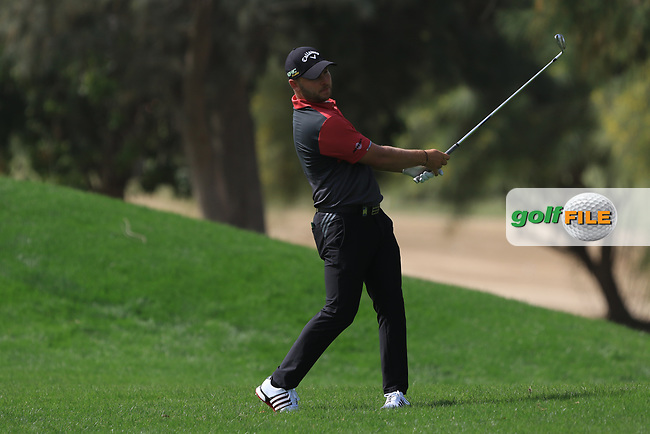 Jordan Smith (ENG) on the 1st fairway during Round 4 of the Omega Dubai Desert Classic, Emirates Golf Club, Dubai,  United Arab Emirates. 27/01/2019<br /> Picture: Golffile | Thos Caffrey<br /> <br /> <br /> All photo usage must carry mandatory copyright credit (&copy; Golffile | Thos Caffrey)