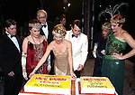 Matt McGrath,  Judy Kaye, Terry Beaver, Kelli O'Hara, Matthew Broderick, Estelle Parsons amnd Jennifer Laura Thompson  backstage celebrating the 200th Performance of 'Nice Work if You Can Get It' on Broadway at the Imperial Theatre on October 17, 2012 in New York City.