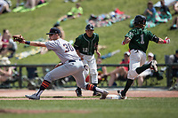 Bowling Green Hot Rods first baseman Nathaniel Lowe (30) stretches to catch a throw as Great Lakes Loons baserunner Saige Jenco (1) lunges for the bag during the Midwest League baseball game on June 4, 2017 at Dow Diamond in Midland, Michigan. Great Lakes defeated Bowling Green 11-0. (Andrew Woolley/Four Seam Images)