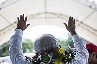 June 10, 2018: Andres Manuel Lopez Obrador, an opposition candidate of MORENA party running for presidency, gives a speech to supporters during his campaign rally at Huehuetan's municipality in Chiapas, Mexico. National elections will be hold on July 1.