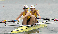 Munich, GERMANY, 2006, FISA, Rowing, World Cup, AUS W2- , bow Kim Crow and Sarah Cook,  , held on the Olympic Regatta Course, Munich, Thurs. 25.05.2006. © Peter Spurrier/Intersport-images.com,  / Mobile +44 [0] 7973 819 551 / email images@intersport-images.com.[Mandatory Credit, Peter Spurier/ Intersport Images] Rowing Course, Olympic Regatta Rowing Course, Munich, GERMANY
