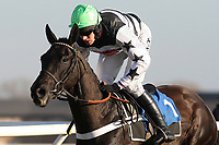 Race winner Owen Glendower ridden by Barry Geraghty in jumping action during the Weatherbys Cheltenham Festival Betting Guide Novices Chase