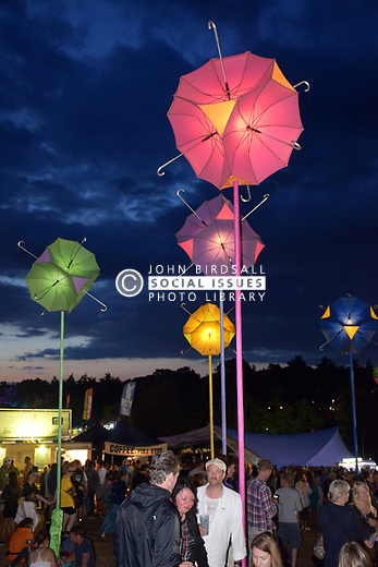 Latitude Festival, Henham Park, Suffolk, UK July 2019. Solar umbrella llights