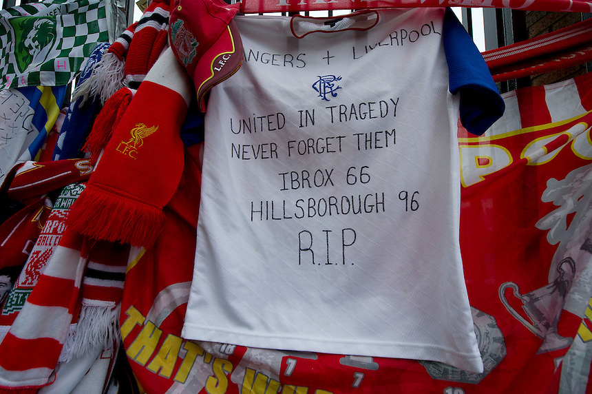 Tributes left in remembrance to the ninetysix fans who lost their lives at the 1989 Hillsborough disaster at the memorial outside the gates to Anfield, home of Liverpool FC..Football - Barclays Premiership - Liverpool v Manchester United - Sunday 23rd September 2012 - Anfield - Liverpool..