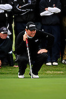 Shane Lowry lines up his putt on the 11th green during Round 3 of the 3 Irish Open on 16th May 2009 (Photo by Eoin Clarke/GOLFFILE)