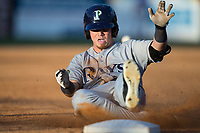 Carl Chester (9) of the Princeton Rays slides into third base against the Danville Braves at American Legion Post 325 Field on June 25, 2017 in Danville, Virginia.  The Braves walked-off the Rays 7-6 in 11 innings.  (Brian Westerholt/Four Seam Images)