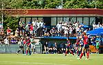 NIJMEGEN -   Clubhuis met supporters Nijmegen) tijdens  de tweede play-off wedstrijd dames, Nijmegen-Huizen (1-4), voor promotie naar de hoofdklasse.. Huizen promoveert naar de hoofdklasse.  COPYRIGHT KOEN SUYK