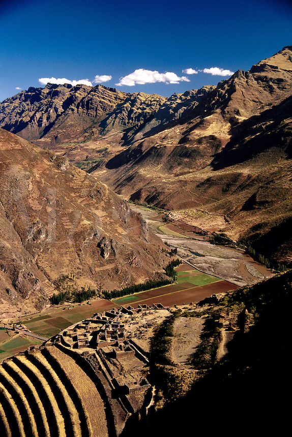 Inca ruins with terraced fields Pisac Peru.