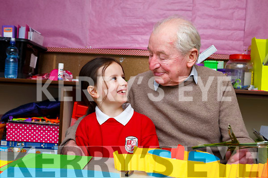 Aoife McIntyre with her grandfather Paddy Leane  in Holy Cross Mercy NS Killarney on Friday