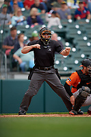 Umpire John Mang strike three call during an International League game between the Norfolk Tides and Buffalo Bisons on June 21, 2019 at Sahlen Field in Buffalo, New York.  Buffalo defeated Norfolk 2-1, the first game of a doubleheader.  (Mike Janes/Four Seam Images)