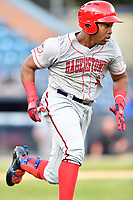 Hagerstown Suns first baseman Omar Meregildo (2) runs to first base during a game against the Asheville Tourists at McCormick Field on April 30, 2019 in Asheville, North Carolina. The Tourists defeated the Suns 5-4. (Tony Farlow/Four Seam Images)