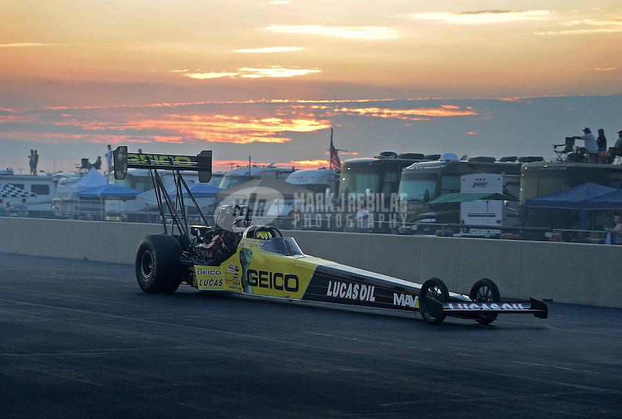 Jul, 9, 2011; Joliet, IL, USA: NHRA top fuel dragster driver Morgan Lucas during qualifying for the Route 66 Nationals at Route 66 Raceway. Mandatory Credit: Mark J. Rebilas-