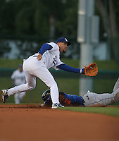 Ramon Martinez of the Los Angeles Dodgers vs. the New York Mets as Jose Reyes slides in March 21st, 2007 at Holman Stadium in Vero Beach, FL during Spring Training action.  Photo By Mike Janes/Four Seam Images