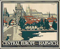 BNPS.co.uk (01202 558833)<br /> Pic: SwannGalleries/BNPS<br /> <br /> ***Please Use Full Byline***<br /> <br /> Central Europe via Harwich -  1925 - &pound;1500.<br /> <br /> Beautiful posters from the halcyon days of travel up for auction.<br /> <br /> Scarce vintage travel posters promoting holidays across the globe in the 1920's and 30's are tipped to sell for over &pound;200,000 .<br /> <br /> The fine collection of 200 works of art that hark back to the halcyon days of train and boat travel have been brought together for sale.<br /> <br /> The posters were used to advertise dream holiday destinations in far-flung places such as the US and Australia and to celebrate the luxurious ways of getting to them.<br /> <br /> Most of the advertising posters date back to the 1930s and are Art Deco in style and they are all from the original print-run.