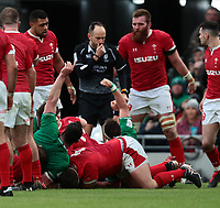8th February 2020; Aviva Stadium, Dublin, Leinster, Ireland; International Six Nations Rugby, Ireland versus Wales; Ireland celebrate getting over in the corner for a try