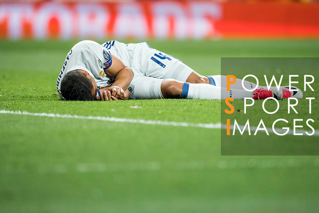 Carlos Henrique Casemiro of Real Madrid lies injured on the pitch during their 2016-17 UEFA Champions League Semifinals 1st leg match between Real Madrid and Atletico de Madrid at the Estadio Santiago Bernabeu on 02 May 2017 in Madrid, Spain. Photo by Diego Gonzalez Souto / Power Sport Images