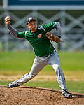 15 September 2019: Waterbury Warthog pitcher Jason Gamelin on the mound against the Burlington Cardinals at Burlington High School in Burlington, Vermont. The Warthogs edged out the Cardinals 2-1 in post season play. Mandatory Credit: Ed Wolfstein Photo *** RAW (NEF) Image File Available ***