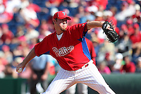 Philadelphia Phillies pitcher B.J. Rosenberg #76 delivers a pitch during a spring training game against the Houston Astros at Bright House Field on March 7, 2012 in Clearwater, Florida.  (Mike Janes/Four Seam Images)