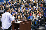 Student Government Association president Michael Lynch greets new DePaul students as they gather in McGrath-Phillips Arena Tuesday, Sept. 5, 2017, during a rally before they head out to their volunteer sites as part of New Student Service Day. Students fanned out across the city to volunteer at dozens of community organizations following the early morning rally on the Lincoln Park Campus. (DePaul University/Jamie Moncrief)
