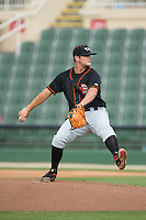 Delmarva Shorebirds relief pitcher Mike Burke (18) in action against the Kannapolis Intimidators at CMC-Northeast Stadium on June 7, 2015 in Kannapolis, North Carolina.  The Shorebirds defeated the Intimidators 9-1.  (Brian Westerholt/Four Seam Images)