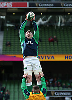 8th February 2020; Aviva Stadium, Dublin, Leinster, Ireland; International Six Nations Rugby, Ireland versus Wales; Peter O'Mahony (Ireland) stretches for a lineout ball during the warmup