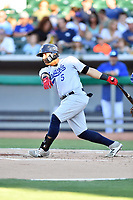Pensacola Blue Wahoos catcher Chad Tromp (5) swings at a pitch during a game against the Tennessee Smokies at Smokies Stadium on August 5, 2017 in Kodak, Tennessee. The Smokies defeated the Blue Wahoos 6-2. (Tony Farlow/Four Seam Images)