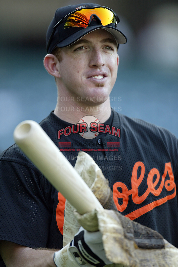 Jay Gibbons of the Baltimore Orioles before a 2002 MLB season game against the Los Angeles Angels at Angel Stadium, in Los Angeles, California. (Larry Goren/Four Seam Images)