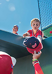 29 February 2020: Washington Nationals left fielder Juan Soto signs an autograph for a young fan prior to a Spring Training game against the St. Louis Cardinals at Roger Dean Stadium in Jupiter, Florida. The Cardinals defeated the Nationals 6-3 in Grapefruit League play. Mandatory Credit: Ed Wolfstein Photo *** RAW (NEF) Image File Available ***