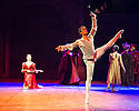 London, UK. 10.06.2014. Tamara Rojo and Carlos Acosta, from English National Ballet, in dress rehearsal for ROMEO AND JULIET, in the round, in the Royal Albert Hall. Picture shows: Carlos Acosta (Romeo) and Juliet (Tamara Rojo - with lute). Photograph © jane Hobson.