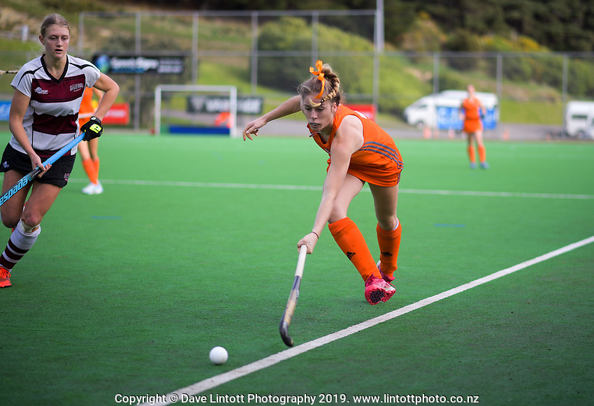 North Harbour v Midlands women. 2019 National Hockey Under-18 Tournament at National Hockey Stadium in Wellington, New Zealand on Friday, 12 July 2019. Photo: Dave Lintott / lintottphoto.co.nz