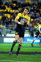 Beauden Barrett turns after putting three points on the scoreline during the Super Rugby semifinal match between the Hurricanes and Chiefs at Westpac Stadium, Wellington, New Zealand on Saturday, 30 July 2016. Photo: Dave Lintott / lintottphoto.co.nz