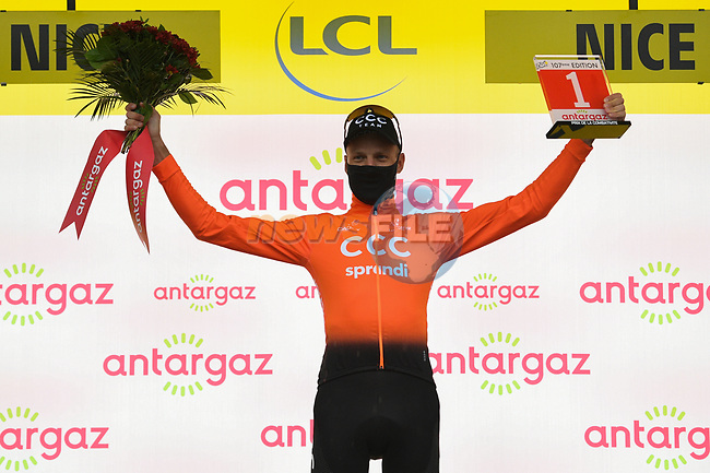 Michael Schar (SUI) CCC Team wins the days combativity award at the end of Stage 1 of Tour de France 2020, running 156km from Nice Moyen Pays to Nice, France. 29th August 2020.<br /> Picture: ASO/Alex Broadway | Cyclefile<br /> All photos usage must carry mandatory copyright credit (© Cyclefile | ASO/Alex Broadway)