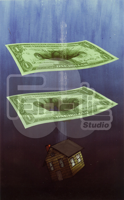 Illustrative image of model home falling through paper bills representing loss in real estate business