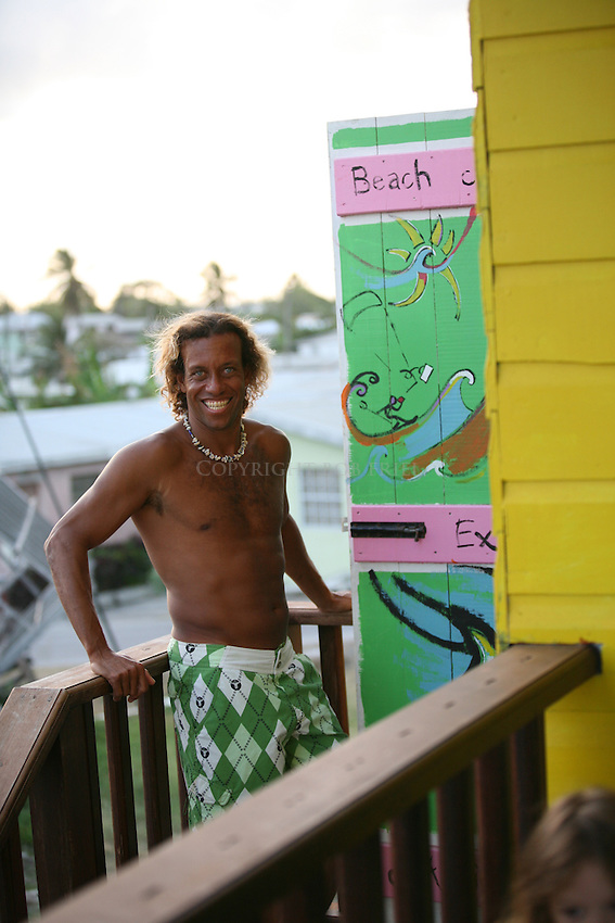 Local windsurfer, surfer, SUPer, Brian Talma, at his watersports shop, De Action.Silver Rock, Christ Church Parish.Barbados
