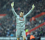 Liverpool goalkeeper Simon Mignolet celebrates after Liverpool's first goal - Barclays Premier League - Southampton vs Liverpool - St Mary's Stadium - Southampton - England - 22nd February 2015 - Pic Robin Parker/Sportimage
