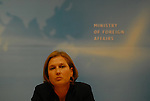 JERUSALEM, ISRAEL - MAY 2: Israeli Foreign Minister Tsipi Livni leaves a press conference after telling Prime Minister Ehud Olmert he must resign in the wake of the harsh criticism in the Winograd report on his handling of last summer's Lebanese war May 2, 2007 in Jerusalem. Livni, who said she would not resign from the government, is the most senior Israeli official to call on Olmert to quit. (Photo by Ahikam Seri)<br />