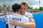 Krefeld, Germany, May 19: During the Final4 Gold Medal fieldhockey match between Uhlenhorst Muelheim and Mannheimer HC on May 19, 2019 at Gerd-Wellen Hockeyanlage in Krefeld, Germany. (worldsportpics Copyright Dirk Markgraf) *** Tin Nguyen Luong #7 of Mannheimer HC, John Frederik Hillmann #14 of Mannheimer HC