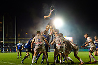 Luke Charteris of Bath Rugby wins the ball at a lineout. Premiership Rugby Cup match, between Bath Rugby and Gloucester Rugby on February 3, 2019 at the Recreation Ground in Bath, England. Photo by: Patrick Khachfe / Onside Images