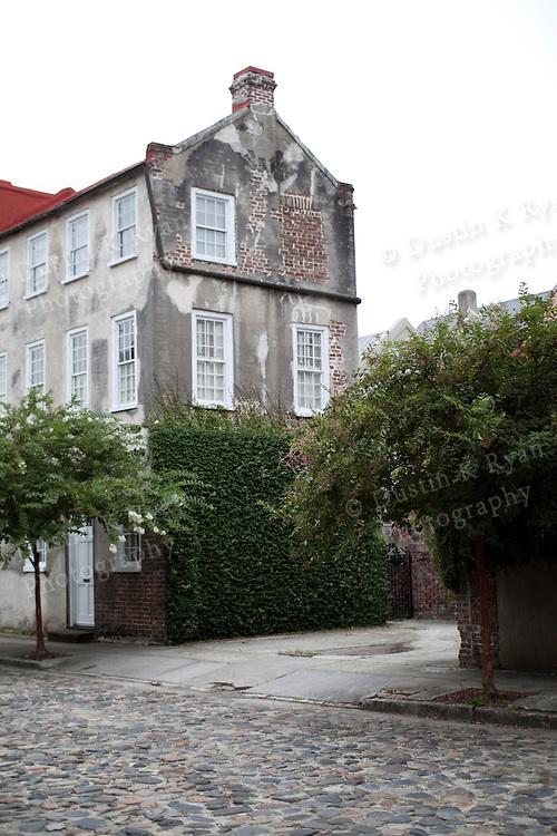 Old Historic Home on Cobblestone Street in Charleston SC