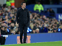 29th October 2019; Goodison Park, Liverpool, Merseyside, England; English Football League Cup, Carabao Cup Football, Everton versus Watford; Everton Manager Marco Silva follows the action from the touchline  - Strictly Editorial Use Only. No use with unauthorized audio, video, data, fixture lists, club/league logos or 'live' services. Online in-match use limited to 120 images, no video emulation. No use in betting, games or single club/league/player publications