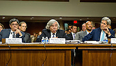 United States Secretary of Energy Ernest Moniz, center, answers a question during the US Senate Committee on Foreign Relations <br /> hearing to examine and review the Iran nuclear agreement on Capitol Hill in Washington, DC on Thursday, July 23, 2015. US Secretary of State John F. Kerry is at right, and US Secretary of the Treasury Jacob Lew is at left.<br /> Credit: Ron Sachs / CNP