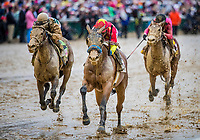 LOUISVILLE, KY - MAY 05: Abel Tasman #13 with Mike Smith aboard, defeats Daddy's Lil Darling #12 with Julien Leparoux, and Salty #14 with Joel Rosario to win the Kentucky Oaks at Churchill Downs on May 5, 2017 in Louisville, Kentucky. (Photo by Alex Evers/Eclipse Sportswire/Getty Images)
