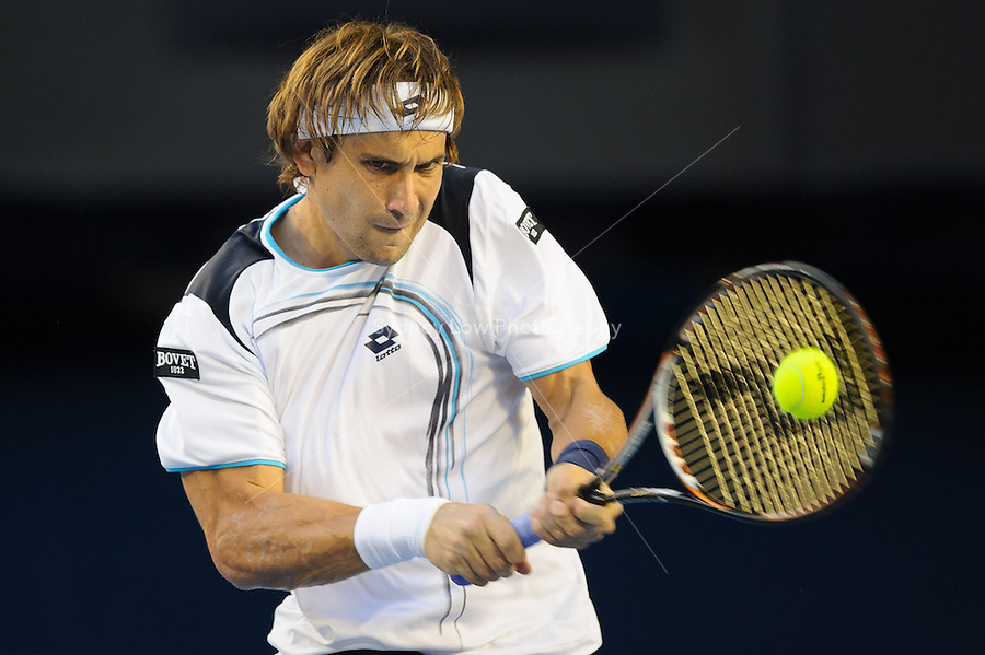 MELBOURNE, 25 JANUARY - David Ferrer (ESP) in action against Novak Djokovic (SRB) during a men's quarterfinals match on day ten of the 2012 Australian Open at Melbourne Park, Australia. (Photo Sydney Low / syd-low.com)