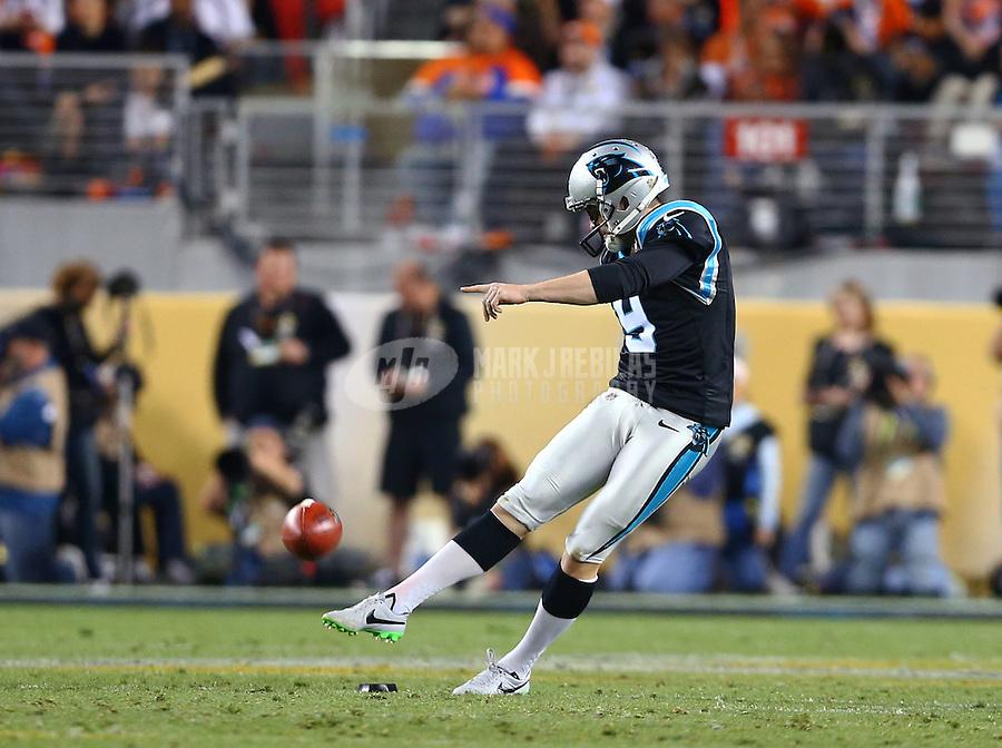 Feb 7, 2016; Santa Clara, CA, USA; Carolina Panthers kicker Graham Gano (9) against the Denver Broncos during Super Bowl 50 at Levi's Stadium. Mandatory Credit: Mark J. Rebilas-USA TODAY Sports