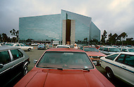 July, 1984, city of Garden Grove, Orange County, California, United States. The Crystal Cathedral (Reformed Church in America), designed by Philip Johnson, is a Southern California architectural landmark. Its construction began in 1977 and was completed in 1980 using over 10,000 rectangular panes of glass.
