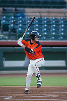 AZL Giants third baseman Jacob Gonzalez (52) at bat against the AZL Athletics on August 5, 2017 at Scottsdale Stadium in Scottsdale, Arizona. AZL Athletics defeated the AZL Giants 2-1. (Zachary Lucy/Four Seam Images)