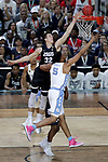 GLENDALE, AZ - APRIL 03: Zach Collins #32 of the Gonzaga Bulldogs and Tony Bradley #5 of the North Carolina Tar Heels reach for a rebound during the 2017 NCAA Men's Final Four National Championship game at University of Phoenix Stadium on April 3, 2017 in Glendale, Arizona.  (Photo by Matt Marriott/NCAA Photos via Getty Images)
