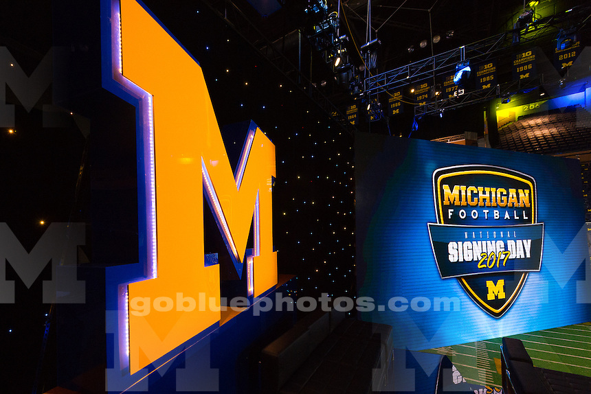 "The University of Michigan Football team presents the ""Signing of the Stars"" at the Crisler Center in Ann Arbor,MI on Feb. 1,2017"