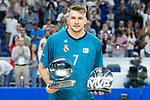 Real Madrid Luka Doncic with MVP Liga Endesa and MVP Euroleague during first match quarter finals of Liga Endesa Playoff between Real Madrid and Iberostar Tenerife at Wizink Center in Madrid, Spain. May 27, 2018. (ALTERPHOTOS/Borja B.Hojas)